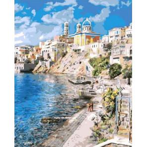 Красивая Греция Раскраска картина по номерам на холсте GX37903