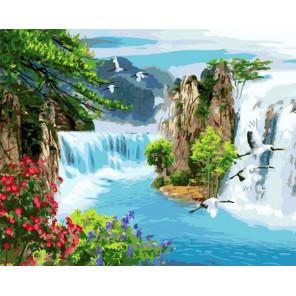 Потрясающие водопады Раскраска картина по номерам на холсте GX37899