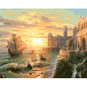 Красочный закат на море Раскраска картина по номерам на холсте GX37737