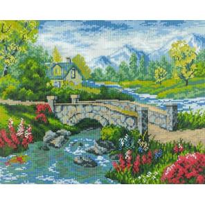 Домик у реки Алмазная мозаика вышивка на подрамнике GF2441