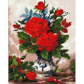 Букет красный роз Алмазная мозаика вышивка на подрамнике GF3197