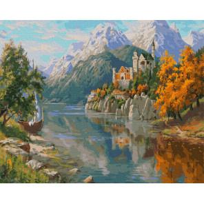 Внешний вид коробки Замок в горах Раскраска картина по номерам на холсте Molly KH0979
