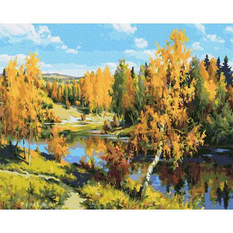 Золотая осень Раскраска картина по номерам на холсте Molly KH0980