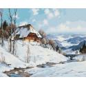 Зима в горах Раскраска картина по номерам на холсте Molly KH0964
