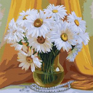 Букет махровых ромашек Раскраска картина по номерам на холсте Molly KH0951
