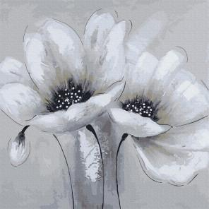 Внешний вид коробки Белые цветы Раскраска картина по номерам на холсте Molly KH0945