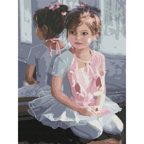 Внешний вид коробки Маленькая балерина Раскраска картина по номерам с цветной схемой на холсте Molly KK0678