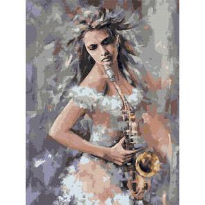 Саксофонистка Раскраска картина по номерам с цветной схемой на холсте Molly KK0682