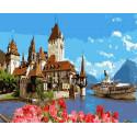 Замок и яхта Раскраска картина по номерам на холсте ZX 23317