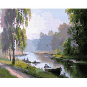 Дорога, лодка и река Раскраска картина по номерам на холсте ZX 23365