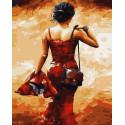 Уходящая в красном Раскраска картина по номерам на холсте ZX 23261