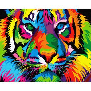 Радужный взрослый тигр Раскраска картина по номерам на холсте ZX 23644