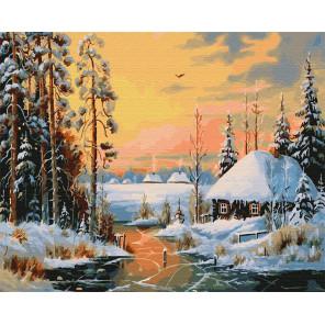Каток на реке Раскраска картина по номерам на холсте ZX 23620