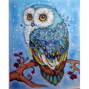 Голубая сова на ветке Раскраска картина по номерам на холсте ZX 21931