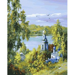 Голубая церковь у реки Раскраска картина по номерам на холсте ZX 23607