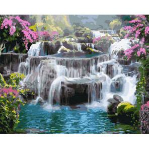 Тропический водопад Раскраска картина по номерам на холсте ZX 23716