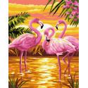 Розовые фламинго на закате Раскраска картина по номерам на холсте ZX 23614