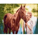 Рыжий конь и невеста Раскраска картина по номерам на холсте ZX 23705