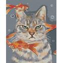 Недовольный кот и рыбки Раскраска картина по номерам на холсте AAAA-RS067-80x100