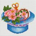 Шляпка с цветами Алмазная мозаика на подрамнике 566-ST-S