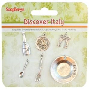 Итальянские каникулы Набор подвесок металлических для скрапбукинга, кардмейкинга Scrapberry's