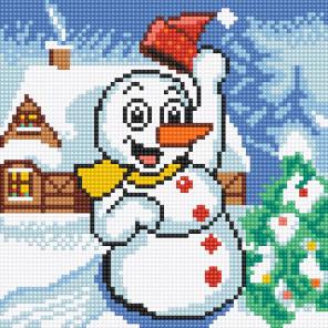 Веселый снеговик Алмазная вышивка мозаика Алмазное Хобби AH5378