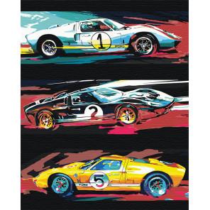 Гоночные машины Раскраска картина по номерам на холсте с неоновыми красками AAAA-RS069