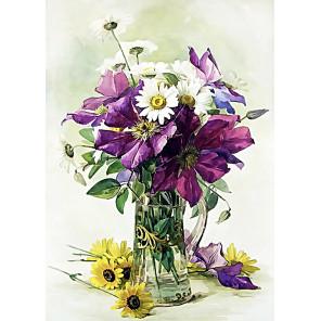 Полевые цветы Ткань для вышивки лентами Каролинка КЛ-4041