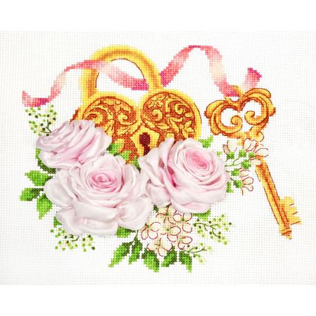 Ключ к счастью Набор для вышивания счетным крестом и лентами Многоцветница МЛН-11