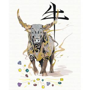 Пример в интерьере Бык, приносящий богатство/ Год Быка Раскраска картина по номерам на холсте с металлическими красками AAAA-RS