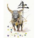 Бык, приносящий богатство/ Год Быка Раскраска картина по номерам на холсте с металлическими красками AAAA-RS071-100x125