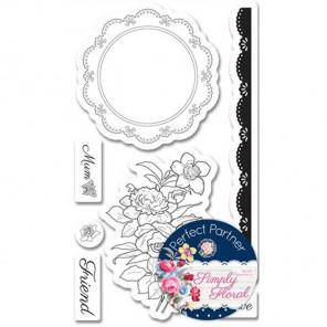 Салфеточка с цветами Набор штампов для скрапбукинга, кардмейкинга Docrafts