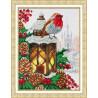 Пример оформления в рамку Рождественский фонарик Набор для частичной вышивки бисером Паутинка Б-1495