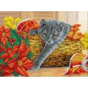 Рождественский котик Набор для частичной вышивки бисером Паутинка Б-1503