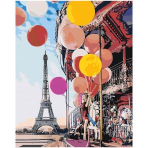 Девушка с воздушными шарами в Париже Раскраска картина по номерам на холсте