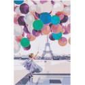 Девушка с воздушными шарами у Эйфелевой башни Раскраска картина по номерам на холсте