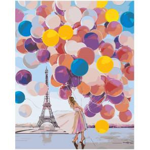 Воздушные шары и девушка в Париже Раскраска картина по номерам на холсте