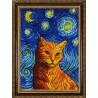 Пример оформления в рамку Рыжий кот Гоша Ткань с нанесенным рисунком для вышивки бисером Конек 1365