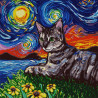 Кот и звездная ночь Ткань с нанесенным рисунком для вышивки бисером Конек 1366