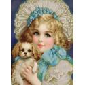 Девчонка с собачкой Ткань с нанесенным рисунком для вышивки бисером Конек 1369