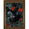 Пример оформления в рамку Природа и звери. Пантера Ткань с нанесенным рисунком для вышивки бисером Конек 1374