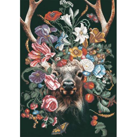 Природа и звери. Олень Ткань с нанесенным рисунком для вышивки бисером Конек 1377