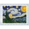 Пример оформления в рамку Звездная ночь. Ван Гог Ткань с нанесенным рисунком для вышивки бисером Конек 8499