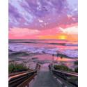 Волнующий закат на море Раскраска картина по номерам на холсте GX38144
