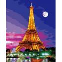 Эйфелева башня в ночи Раскраска картина по номерам на холсте GX38052