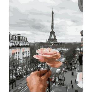Роза и Эйфелева башня Раскраска картина по номерам на холсте GX38047