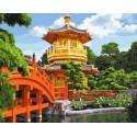 Китайский храм Раскраска картина по номерам на холсте GX37994