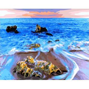 Лазурный пляж 40*50 Раскраска картина по номерам на холсте GX37974