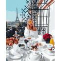 Романтический завтрак в Париже Раскраска картина по номерам на холсте GX38201