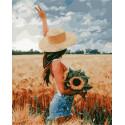 Девушка на поле Раскраска картина по номерам на холсте GX38176